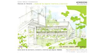 Proyecto cohousing. Espacios interiores y exteriores del Centro Trabensol