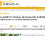 La energía geotérmica del Centro de Mayores Trabensol en la revista Energías Renovables