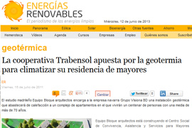 Geothermal energy at Trabensol Senior Centre in Renewable Energies magazine